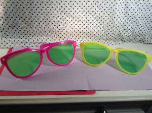 Pink Neon & Yellow Vintage 1990's BIG Party Glasses