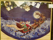 Dimensions Gold 8598 HERE COMES SANTA Cross Stitch Tree Skirt ~ Sealed