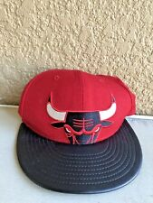 Chicago Bulls Windy City New Era Red Bull Leather Brim Cap Hat Snapback