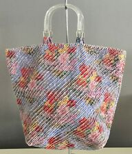 Vintage Velour Pretty Multi Colour Floral Print Short Resin Handle Tote Bag