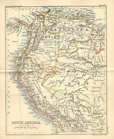 "1890 small map of "" south america section 1 "" by john bartholomew 1890"