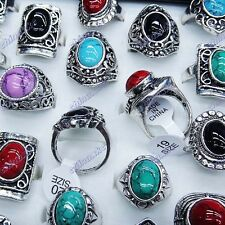 10PCS wholesale jewerly lots Mixed Turquoise Vintage Tibet Silver Vogue Rings