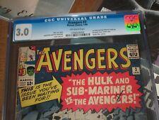 Avengers #3 CGC 3.0  ~Marvel, 1964 ~1st Hulk and Sub-Mariner team Up!!