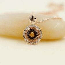 Round Morganite Diamond Halo  Slide Pendant 14k Rose Rolo Chain Dainty Necklace