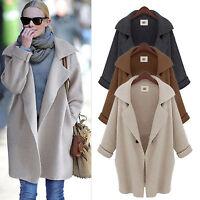 Womens Knitted Long Jacket Lapel Blazer Coat Sweater Cardigan Jumper Top Outwear