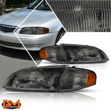 For 98-99 Mazda 626 Direct Replacement Headlight/Lamps Smoked Housing Amber Side