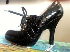 VIVIENNE WESTWOOD rare black croc leather platform heels laced shoes pumps 38.5