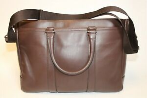 Coach Large Brown Leather Crossbody Business Briefcase Shoulder Tote Bag