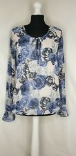 Dorothy Perkins Blue Floral Long Sleeve Bubble Hem Top Size 10