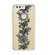 Coque Huawei Y7 2018 dentelle girly lace doodling tatoo noir transparente