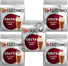 5x TASSIMO COSTA CARAMEL LATTE COFFEE PACKS 80 T-DISCS/PODS, 40 DRINKS