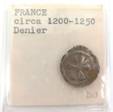 .c1200 FRANCE / FRENCH SILVER DENIER. CRUSADE COIN ?? 0.7 Grams 18mm - 19mm