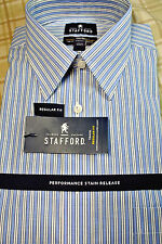 NWT $60 Stafford Performance Blue Striped Long Sleeve Dress Shirt BIG 19 - 36/37