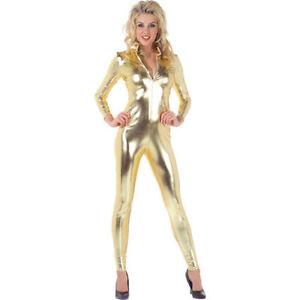 ADULT METALLIC UNITARD STRETCH JUMPSUIT SILVER GOLD BLACK CATSUIT COSTUME ZENTAI