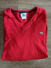 Lacoste V-Neck Long Sleeve Sweater Men's Size XL Red