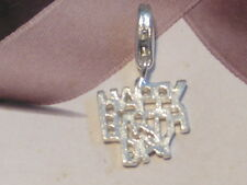 SILVER HAPPY BIRTHDAY LOBSTER CLIP ON CHARM - FIT CARRIER BRACELET