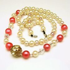 Vintage Faux Pearls Crystals Necklace Mid Century Pink Beads Long Very Elegant