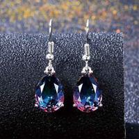 Rainbow Crystal Rhinestone Earrings Women Drop Dangle Ear Studs Jewelry Gift JR