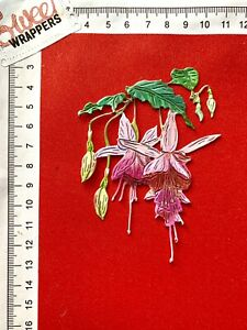 DECOUPAGE CARD Tattered Lace Die Cuts x4 Pink Fuchsia Floral Flowers Birthday