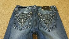 MISS ME Jeans Size 28 Bootcut Dark Denim Embellished Pockets BLING