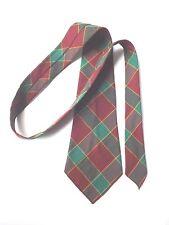 Vintage 1950 S Old England Cravate Vert, Bordeaux, Plaid Laine pure libre p&p