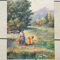 "Vicente Roso Picking Flowers Vintage Print Young Girls in Meadow 16"" x 20"""