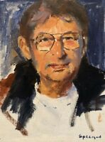 Mystery Artist - Strong Modernist Man Portrait - Original Painting - Signed