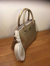 Michael Kors Cindy Large Dome Pale Gold Leather shoulder Handbag Satchel MK
