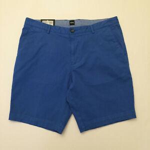 Hugo Boss Medium Blue Slice Shorts Chino Regular Fit Flat Front Men US 36