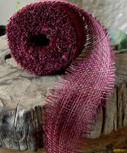 """2.5"""" Burlap Ribbon 10 Yard Roll with Frayed Edges (6 colors)"""