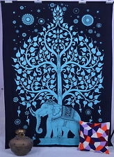 Tree of Life Elephant Tapestry Indian Wall Hanging Cotton Bedspread Wall Decor