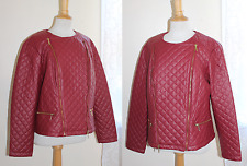 Kate & Mallory -Sz 2X- Very Chic Faux-Leather Moto RED Quilted Designer Jacket