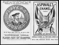 1895 Antique ADVERTISING Print - Players Navy Cut Cigarettes Aspinall Enamel (55