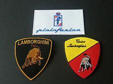 SET OF THREE MOTOR RACING SEW/IRON ON PATCHES:- LAMBOURGHINI, PININFARINA (p)