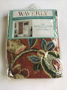 """Waverly French Door Panel BRIGHTON BLOSSOM 26 x 68"""" Single Floral Red Blue Green"""