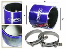"""3"""" Silicone Hose/Pipe Straight Coupler BLUE +T-Bolt Clamp For Jeep/Land Rover"""