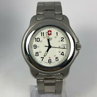 Vintage Swiss Army Mens 700043629 White Dial Stainless Steel Officers Watch