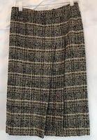 Jones New York Collection Wool Blend Skirt Pleated Size 4 Black Tan
