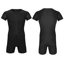 Herren Body Einteiler Kurzarm Unterhemd Bodysuit mit Reißverschluss Schwarz XXL
