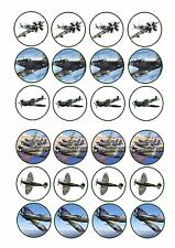 24 Edible cake toppers wafer rice paper Spitfire RAF war army planes airplanes