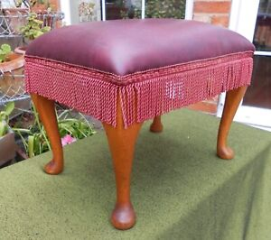 FRINGED FOOTSTOOL~OXBLOOD FAUX LEATHER~WOODEN QUEEN ANNE CABRIOLE SUPPORTS