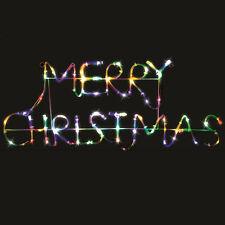 68cm MERRY CHRISTMAS Multicolour Solar LED Flashing Outdoor Rope Light Yard Sign