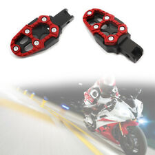 Motorcycle Aluminum Alloy Pedal Non-slip Backfoot FootPegs Red Belt Spring 8MM