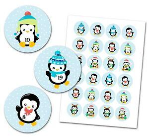 Adventskalender Aufkleber Zahlen - 1-24 - Pinguin - Baby
