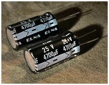 2pcs Elna 25V 4700uF Electrolytic Capacitors Nc- Ce 85•C Made In Japan New In Us