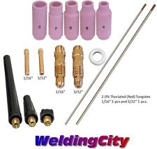 "TIG Welding Torch 17/18/26 Kit 1/16-3/32"" Collet-Tungsten (Red) T56A 