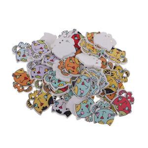 Gros 50pcs 2 trous chat bouton de bois bouton décoratif pour la couture de