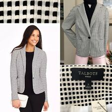 TALBOTS Woman Blazer Jacket Textured Check Ivory/Blk Career Casual Plus Sz X 12W
