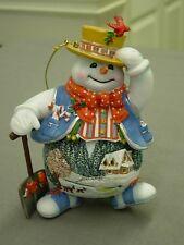 Thomas Kinkade Snowman With Shovel Ornament New
