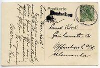 GERMANY 1913 card 5pf DSP Linie Hamburg Westafrika SS Elisabeth Brock